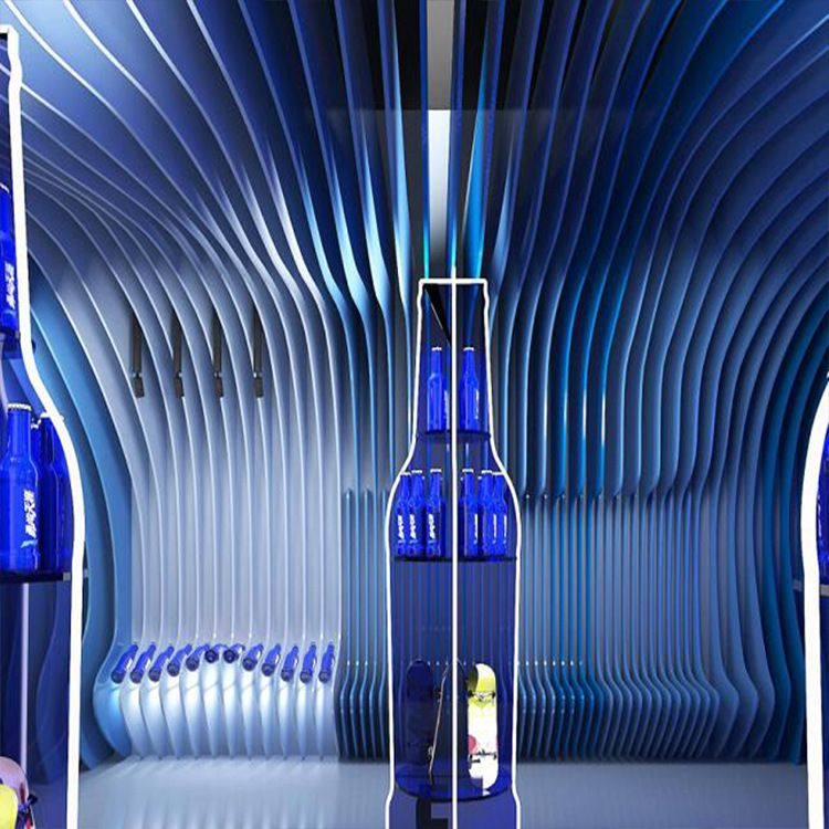 ktv天花板吊顶木纹铝方通 蓝色 弧形装饰隔断 波浪造型铝方通弧形