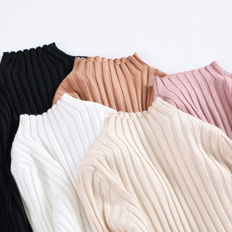 半高领针织衫女长袖秋装2018新款韩版修身套头打底紧身内搭上衣冬