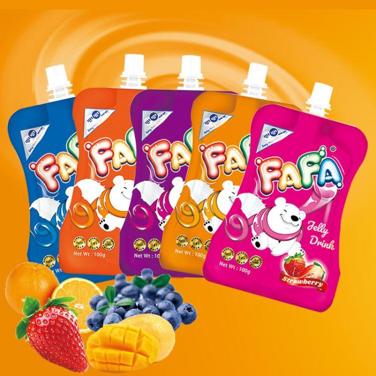 柬埔寨进口FAFA百香果味可吸果冻100g  芒果味香橙味蓝莓味草莓味