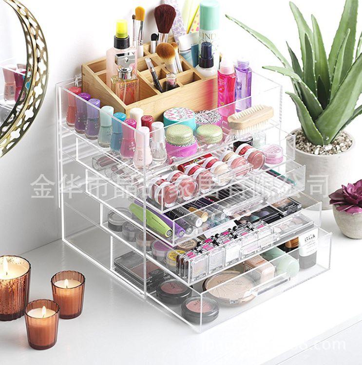 定制透明化妆品收纳盒 亚克力展示架 桌面首饰收纳盒 亚克力收纳