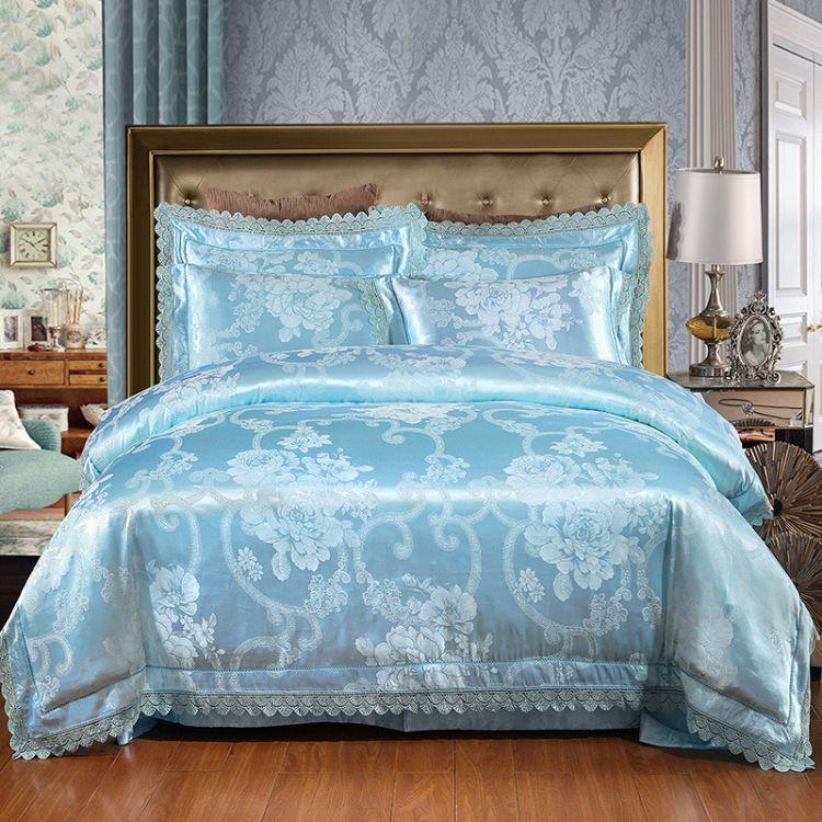 厂家直销麻赛尔天丝莫代尔纯棉贡缎提花婚庆四件套全棉床上用品