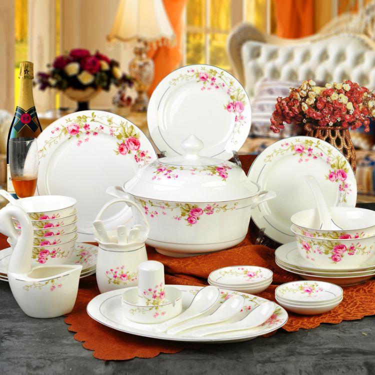 厂家批发景德镇陶瓷器60头高档骨瓷餐具碗碟盘套装商务送礼品礼盒