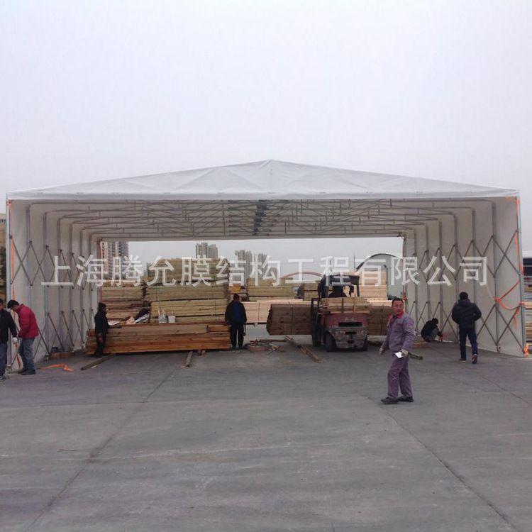 安装大型仓库活动雨篷 可移动推拉棚 雨篷帐篷 活动仓库折叠雨篷