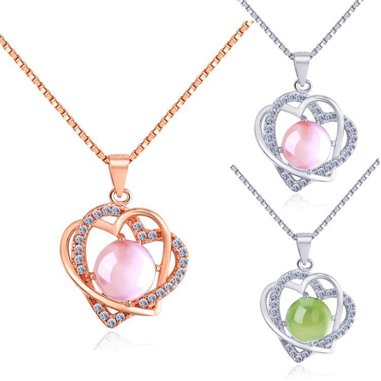 925纯银天然粉晶心形项链 芙蓉石定做葡萄石托帕石紫水晶 证书