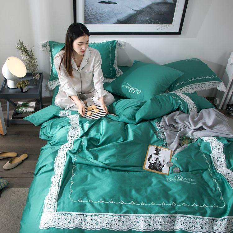 新款高档酒店简约床上用品 纯色贡缎蕾丝花边被套纯棉床单四件套