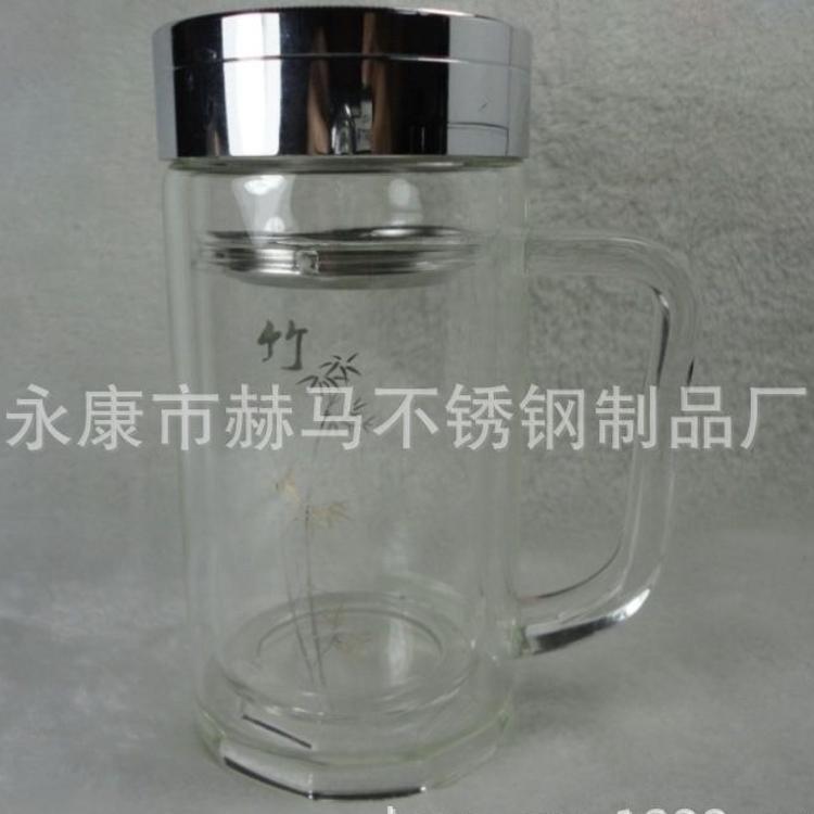 高档真空保温玻璃杯 双层透明水晶玻璃杯子 有手柄玻璃水杯定制