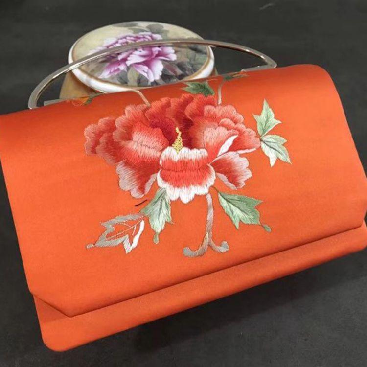 真絲手繡手拎包-19乘13乘5的尺寸 女式配件拎包 純手工真絲包