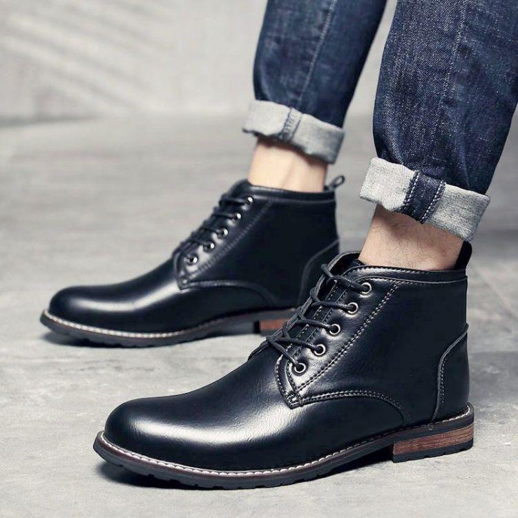 高帮男鞋冬季新款潮鞋男士短靴冬季保暖英伦皮靴男高帮木根底皮鞋