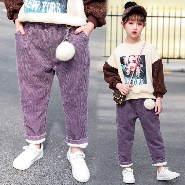 女童加绒裤子2018新款冬装儿童洋气加厚长裤女孩宽松灯芯绒裤外穿