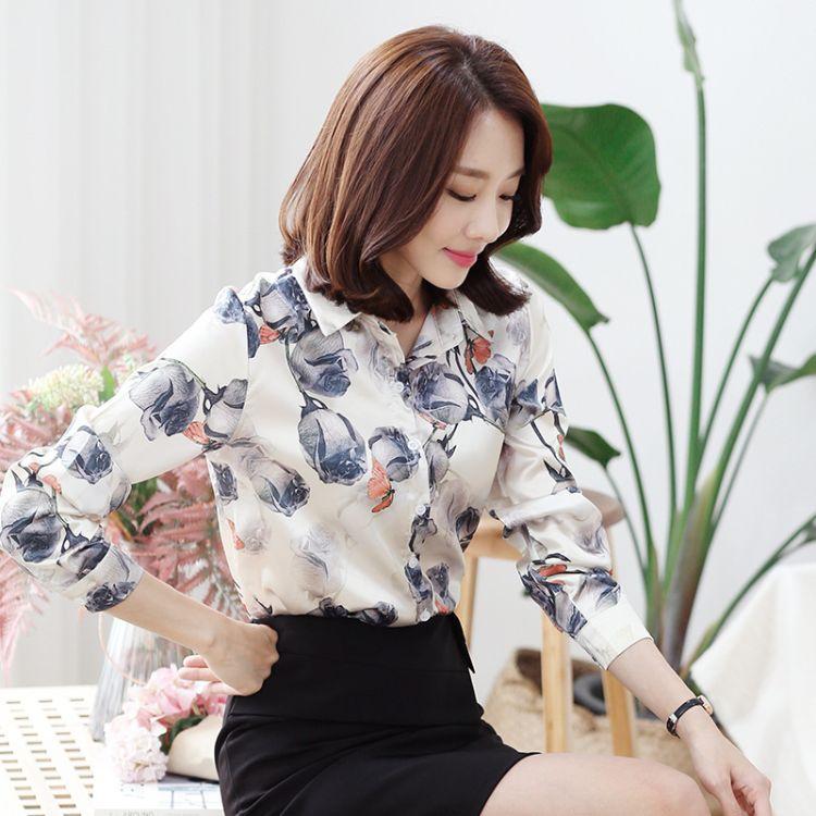 手绘上衣衬衫女长袖白衬衣女2018秋装新款韩版宽松名族风复古