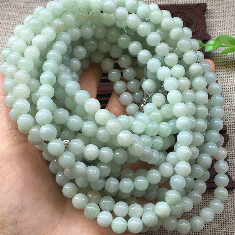 天然翡翠玉器a货7mm圆珠项链 翡翠项链批发