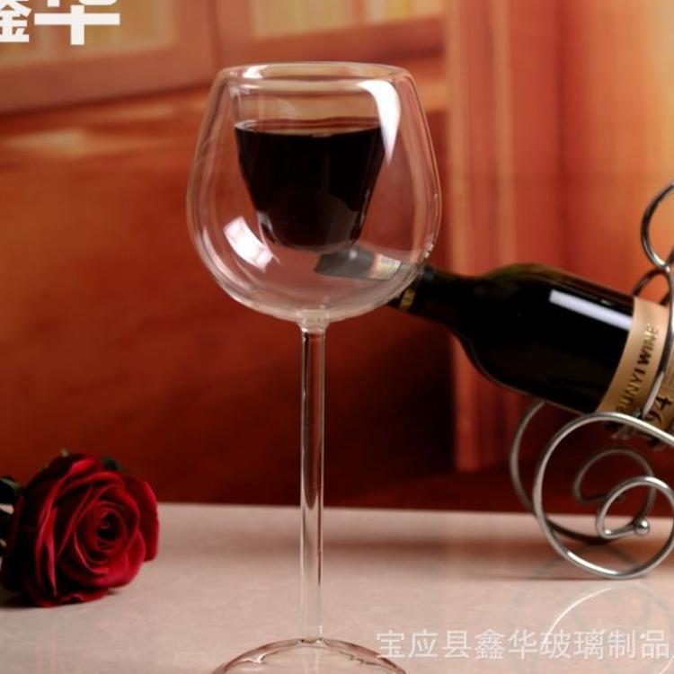 新款创意双层高脚玻璃杯 欧式创意捣塘双层红酒杯 双层玻璃杯定制