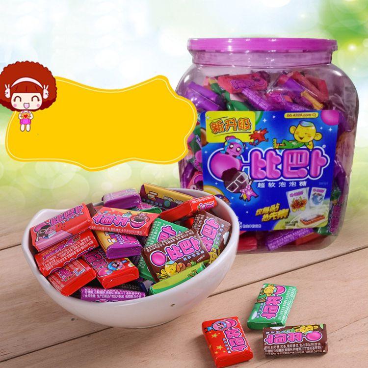 比巴卜混合瓶装超软泡泡糖675克瓶150粒儿童零食童年回忆泡泡糖