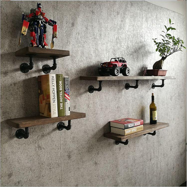美式客厅卧室实木墙壁置物架 LOFT复古奶茶店休闲吧铁艺一字搁板