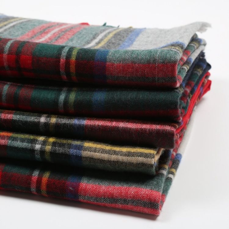 苏格兰格,羔绒围巾,粗纺精做