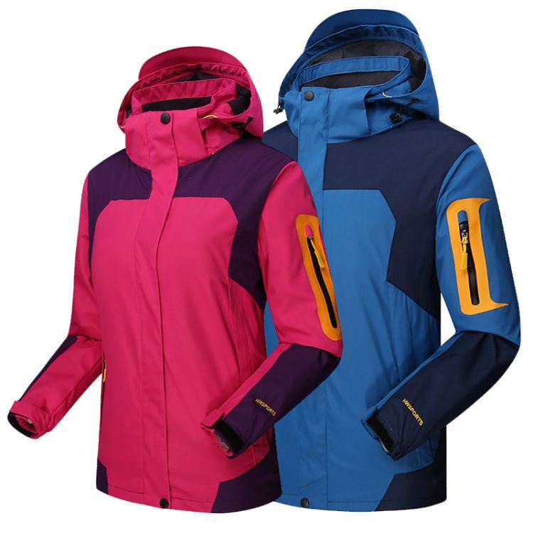 冲锋衣 情侣户外2018冬季新款三合一两件套冲锋衣男保暖冲锋衣