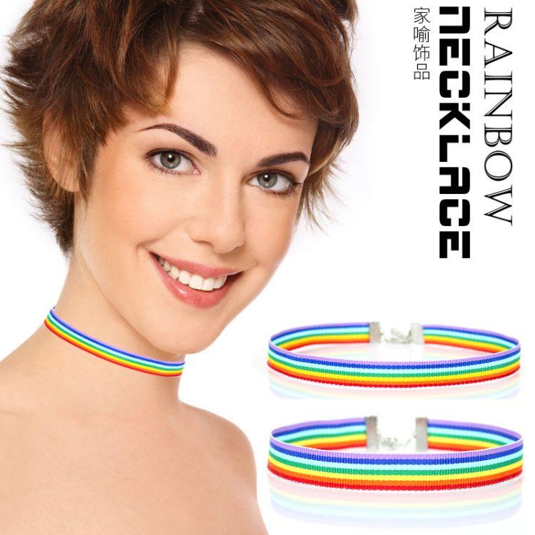 欧美时尚彩虹织带项圈七彩choker颈带女士流行颈链日韩锁骨项链