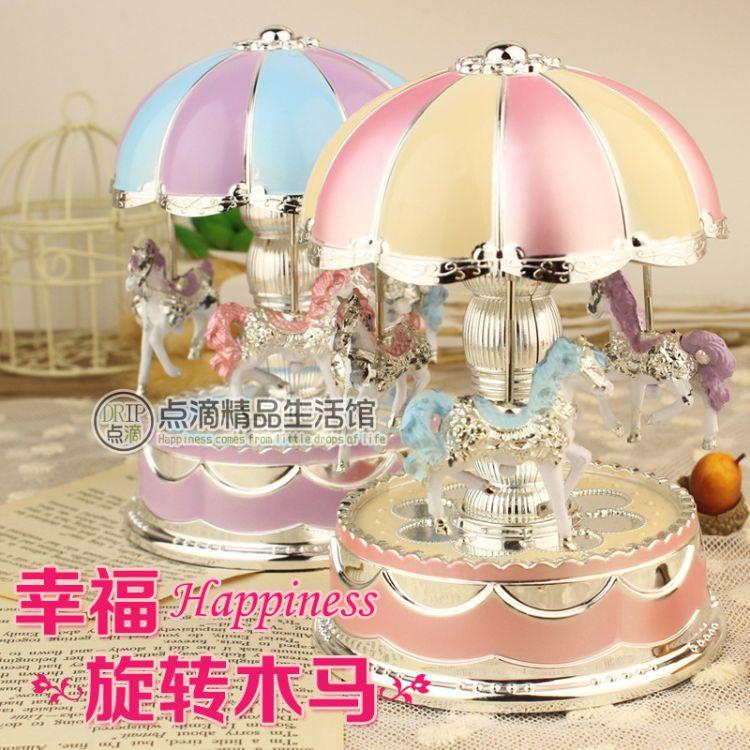 浪漫八音灯光圆顶旋转木马音乐盒 创意八音盒家饰礼品