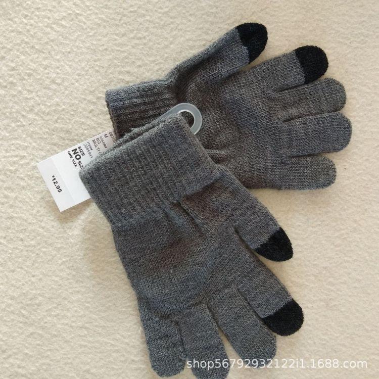 5到12岁触屏手套保暖针织毛线触摸屏手套冬季触摸手套儿童 尾单