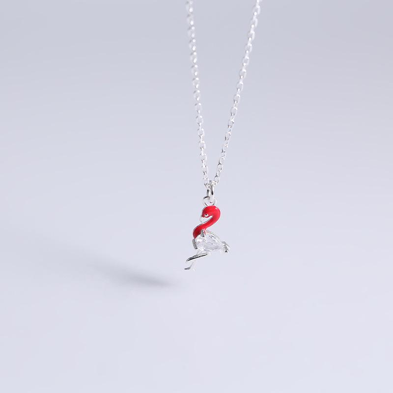s925纯银饰品火烈鸟项链女韩国时尚潮人气质百搭学生创意小鸟吊坠