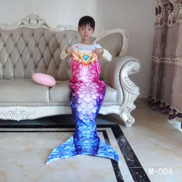 2017新款美人鱼毯子法兰绒毯美人鱼睡袋儿童电视沙发毯来图定制