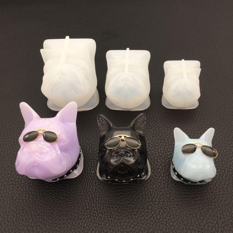 法斗牛犬造型滴胶模具石膏车载模具硅胶模具diy摆件装饰工具模具