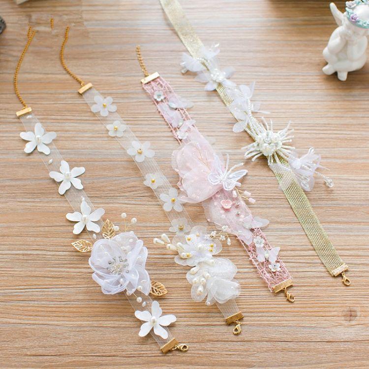 新娘头饰森系仙美韩式花朵项链发带婚纱礼服颈链发饰品