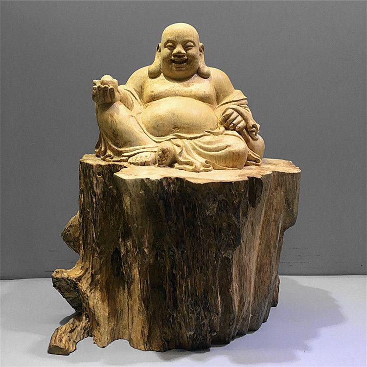 马来沉香摆件工艺品 皆大欢喜弥勒佛 木雕木质工艺品