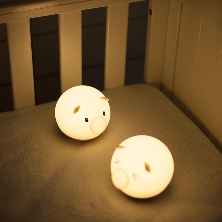 卡通不倒翁婴儿起夜喂奶LED灯充电USB小夜灯捣蛋猪情感拍拍硅胶灯