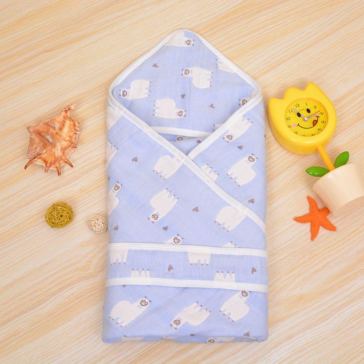 80*80新生儿婴儿带帽浴巾提花纯棉6层纱布浴巾抱被【带帽带腰带】