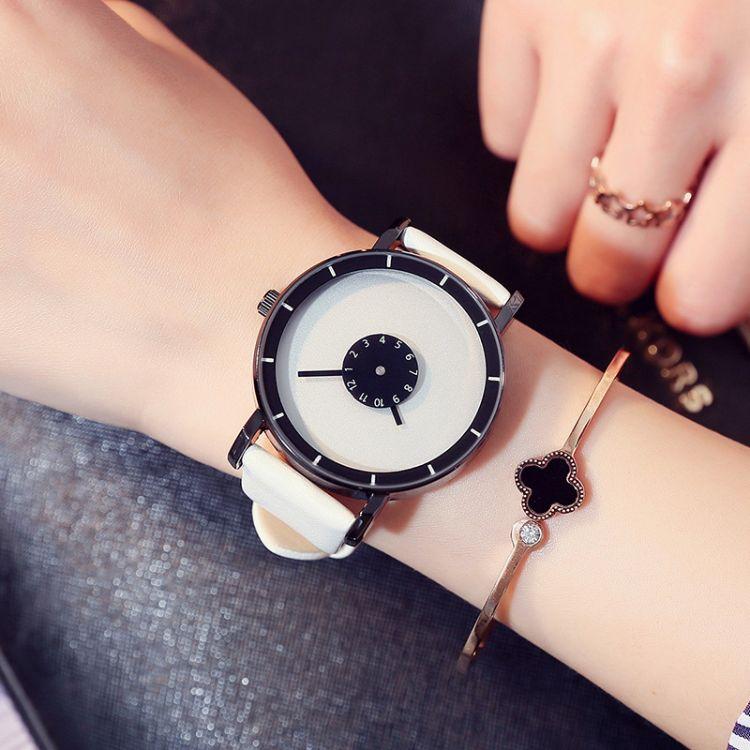 厂家直销时尚潮人创意手表 简约秒盘原宿男女手表休闲皮带石英表