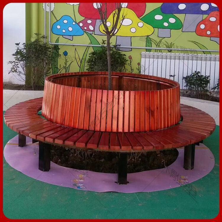 厂家批发防腐木圆形树池座椅公园长椅室外防腐木座椅景观防腐木