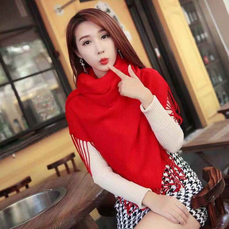 羊絨本命年中國紅圍巾可定制logo年會同學會大紅圍巾280g