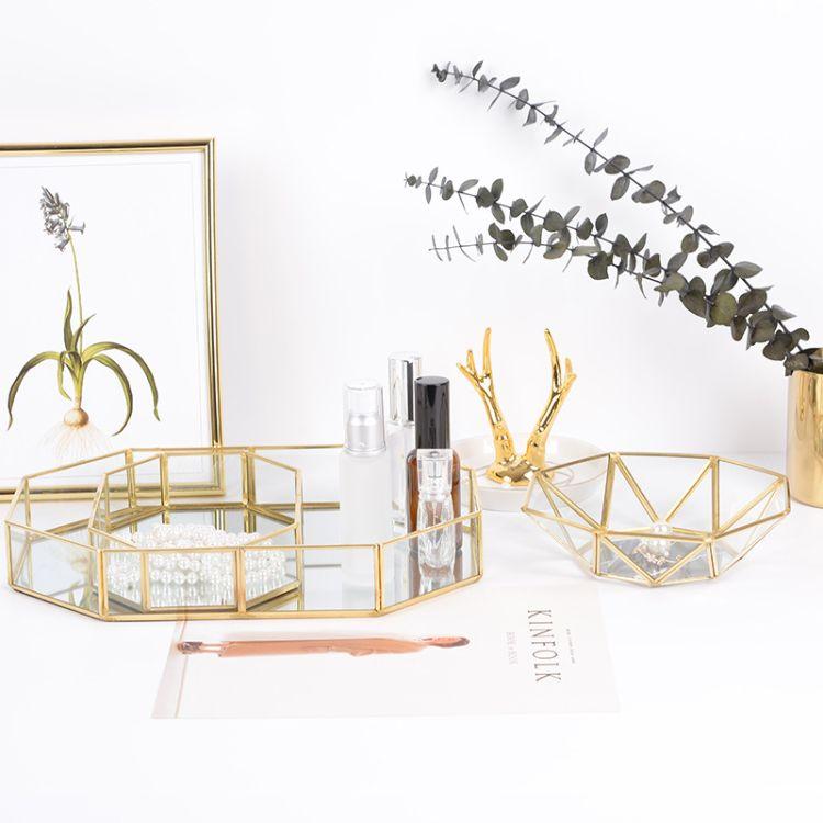 北欧ins 玻璃复古收纳盘 金色八角镜面托盘 黄铜置物盘