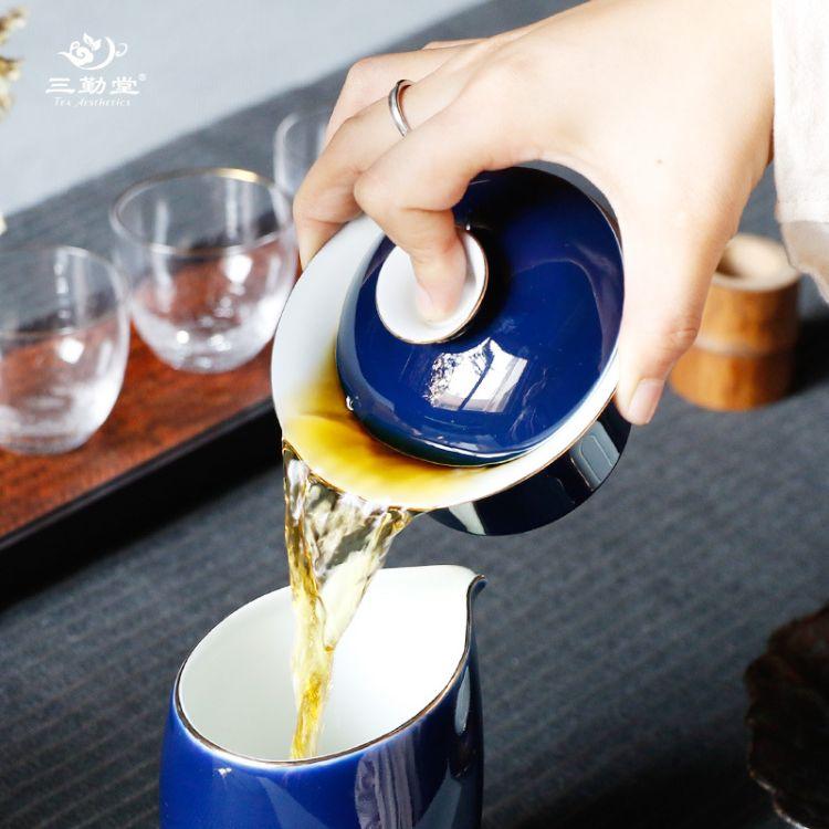 三勤堂霁蓝盖碗 景德镇经典复古蓝色陶瓷三才碗盖碗功夫茶具批发