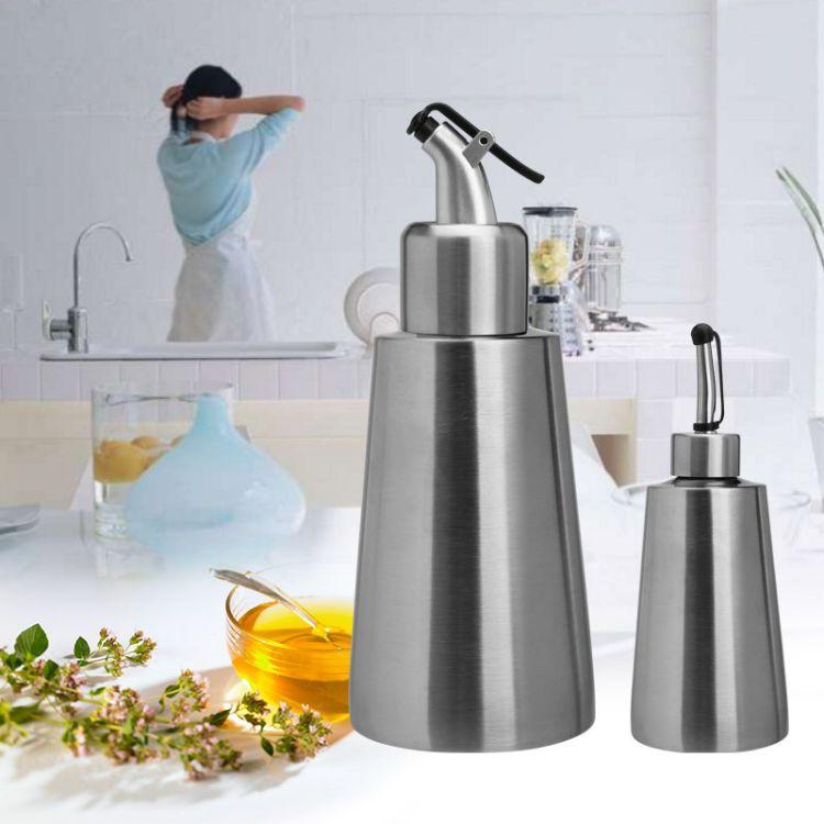 厂家直销食品级304不锈钢油壶酱油瓶醋壶小锥形厨房用品可定LOGO