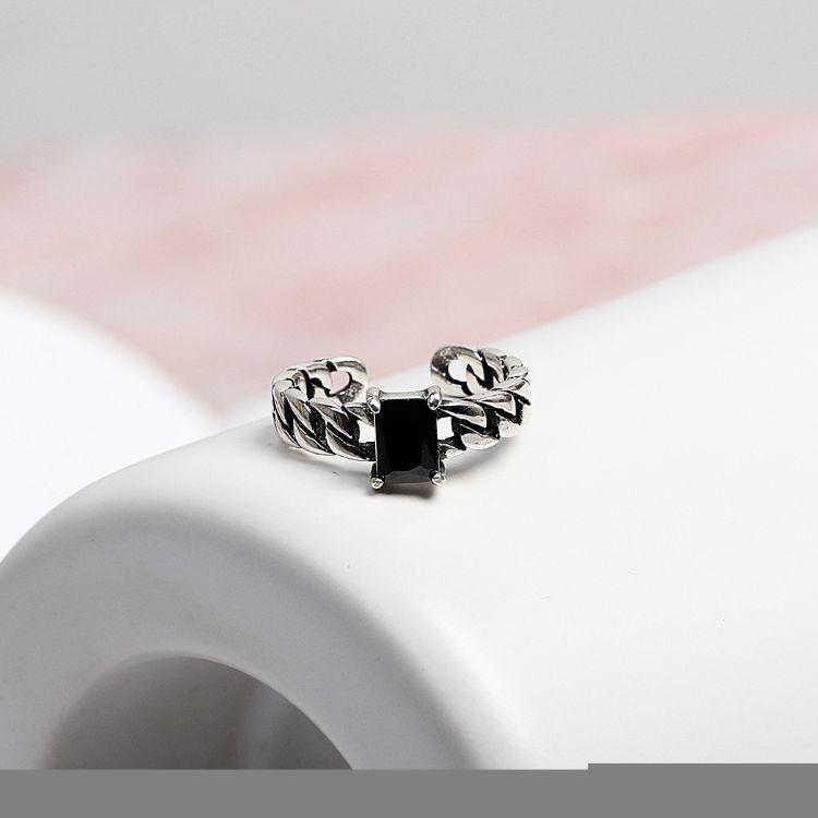 韩国官网韩版S925纯银复古泰银戒指 方玛瑙链条开口指环淘宝代发