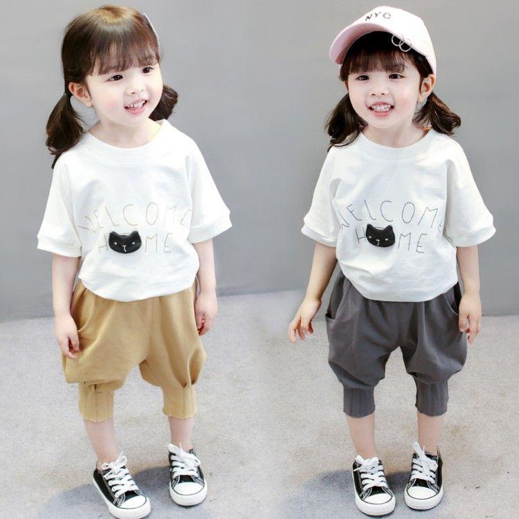 童装女童夏款短袖套装2018年中小女童韩版垮裤两件套女宝宝代发潮