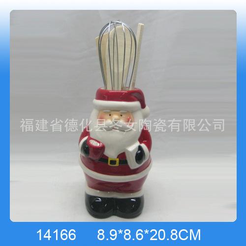 圣诞节陶瓷工艺品  圣诞雪人工具罐 外销白云土工具罐 厨房用具