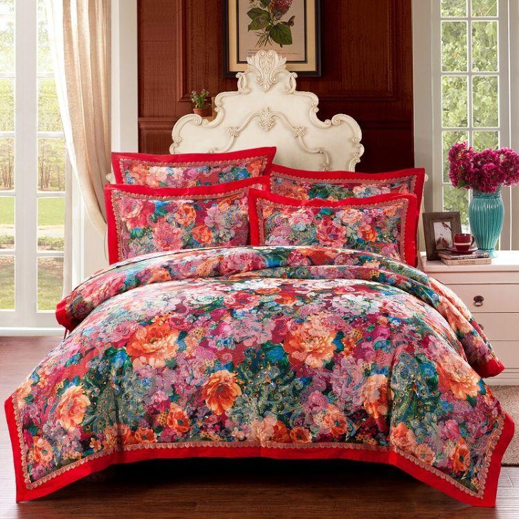 厂家直销活性棉麻提花四件套 婚庆全棉贡缎四件套床上用品批发