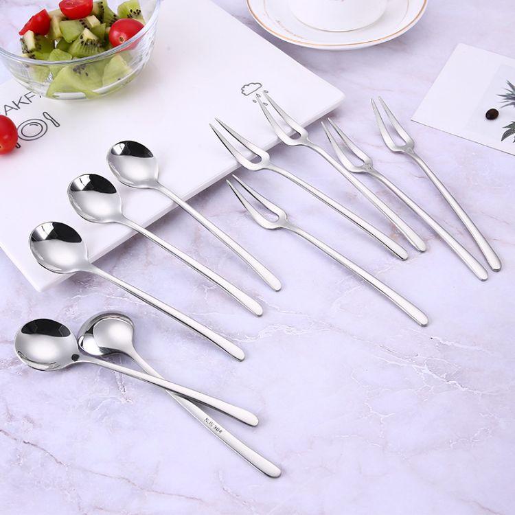 创意304不锈钢餐具促销礼品水果叉高档咖啡勺爆款不锈钢勺叉