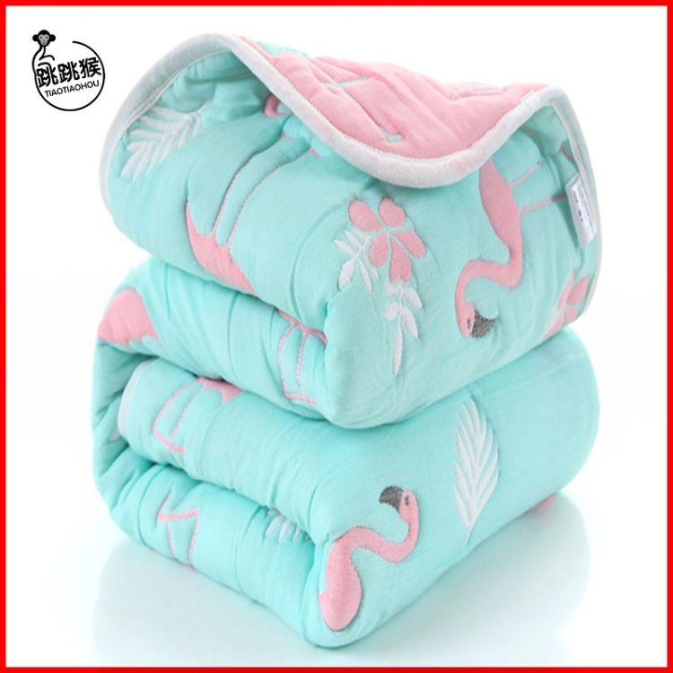 新款纯棉加厚十层纱布童被婴幼儿卡通盖毯宝宝抱被提花浴巾可代发