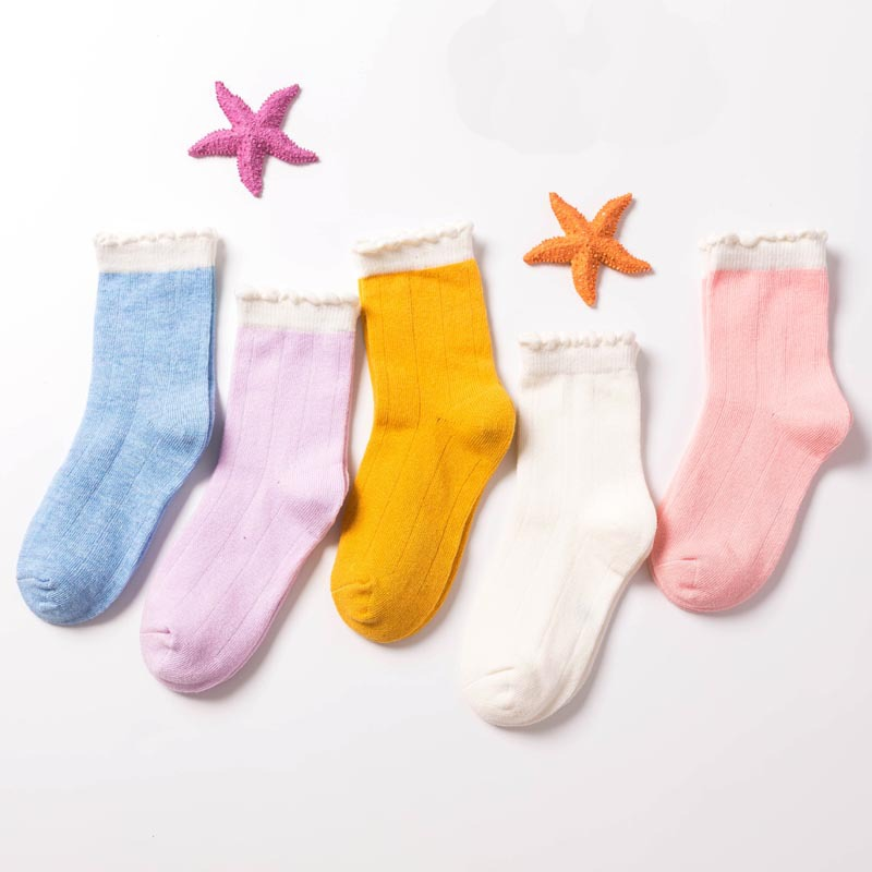 春秋款纯棉舒适素色儿童袜子女童泡泡口纯色透气中筒少年袜批发