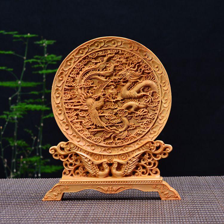 仙游木雕厂家崖柏木雕家居龙凤呈祥摆件创意木质工艺品红木工艺品
