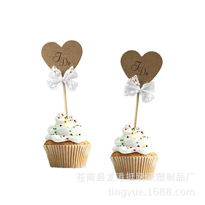 现货 蛋糕装饰牙签插卡牛皮纸 圆形爱心星星LOVE I DO DIY烘焙插