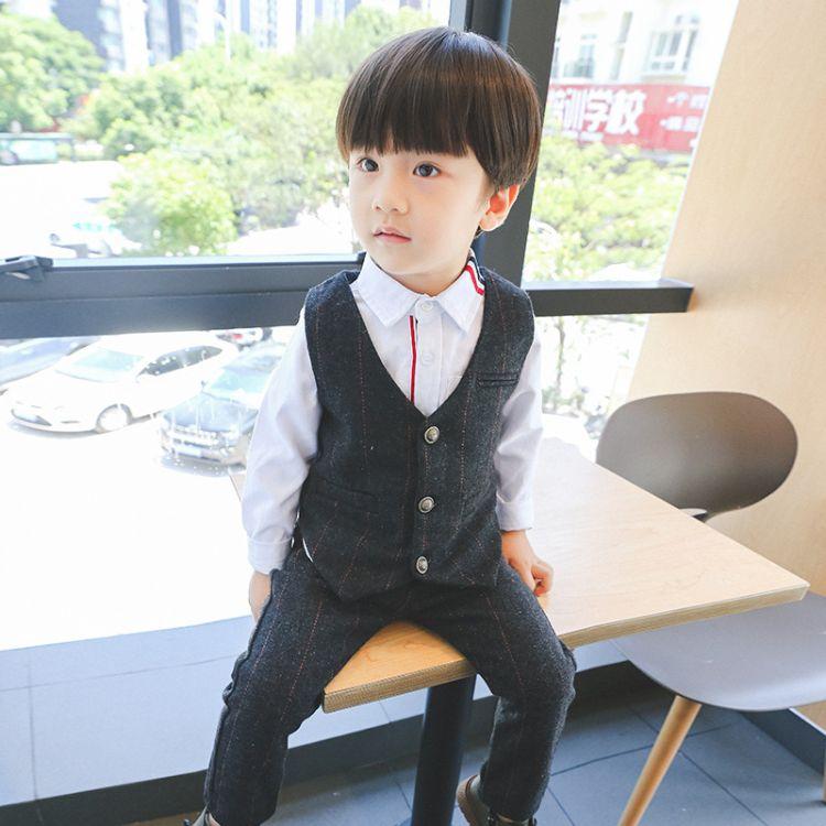男童套装2018春季新款中小童男童绅士西装马甲 西裤两件套批发潮