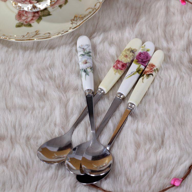 产家直销陶瓷搅拌勺不锈钢小奶茶勺果粉勺杯勺创意可爱咖啡勺子