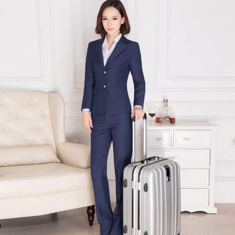 高端女装职业装套装海军蓝空姐制服商务西服正装工作服羊毛混纺