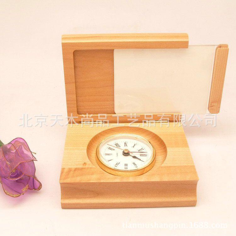 双11包邮木质工艺品带钟表相框公司礼品定制床头摆件生日礼品