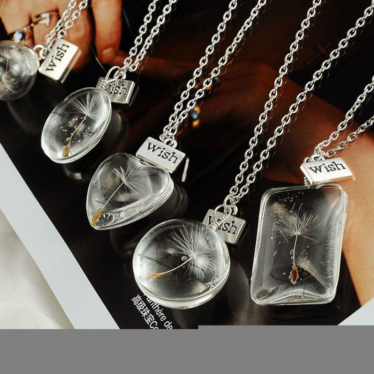 wish时尚饰品韩国透明水晶玻璃爱心项链女长款水晶吊坠毛衣链批发